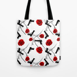 Roses Barbed Wire Guns Pattern Love Is War Tote Bag
