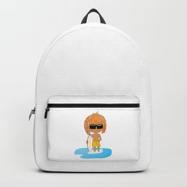 Cute Chibi Surfer Dude in Yellow Backpack