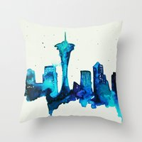 seattle Throw Pillows featuring Seattle  by Talula Christian