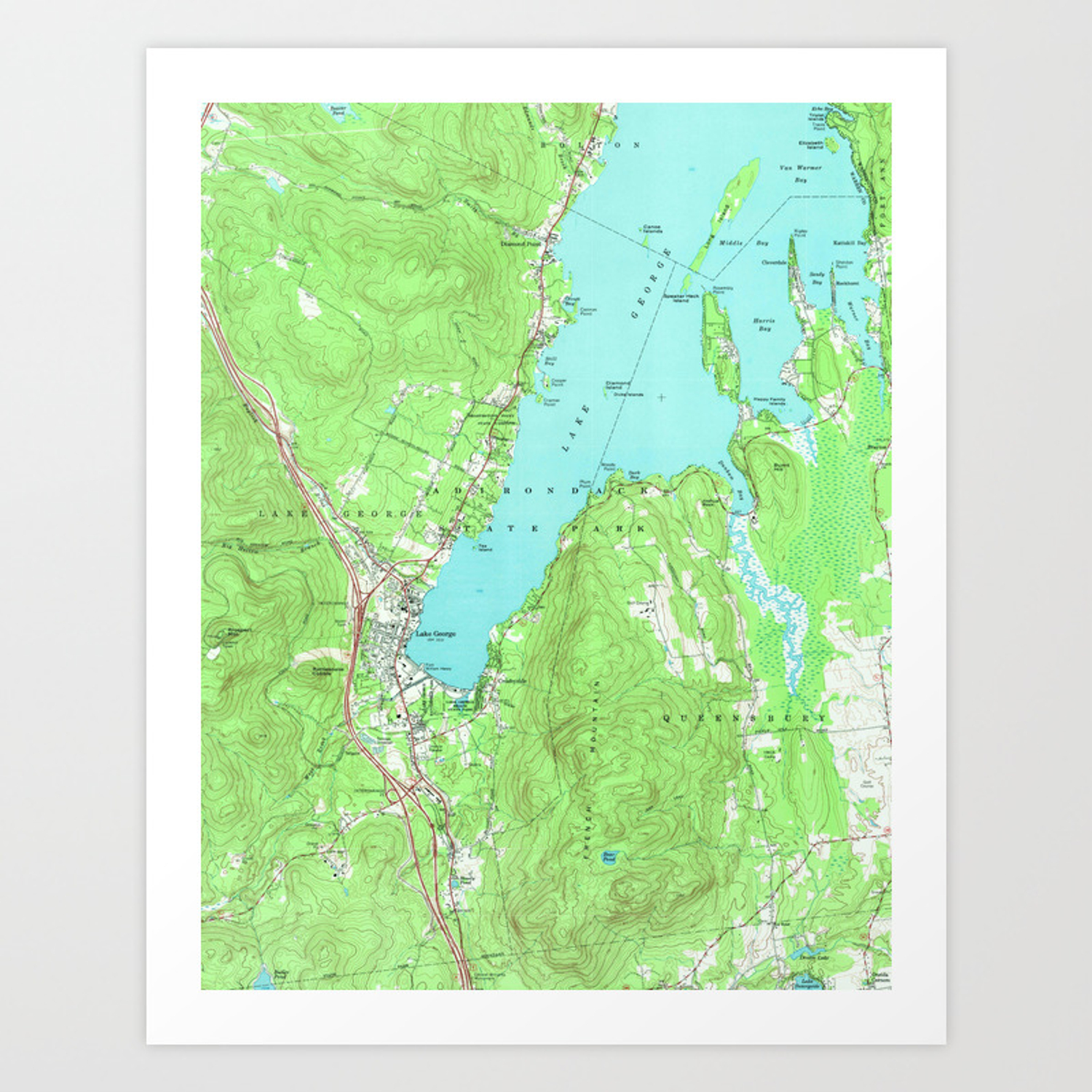 Vintage Map of Lake George New York (1966) Art Print by bravuramedia ...