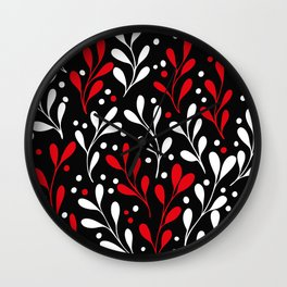 seaweed white red and black botanical plants seamless pattern Wall Clock