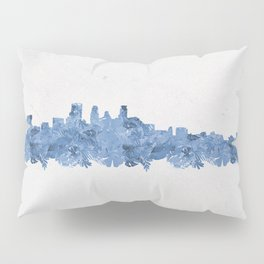 Minnepolis Minnesota Skyline Florals Blue Pillow Sham