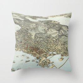 Vintage Pictorial Map of Seattle Washington (1891) Throw Pillow