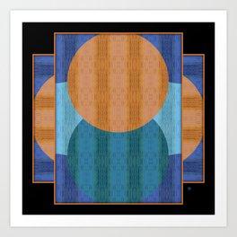 Orange Blues Geometric Shapes Art Print