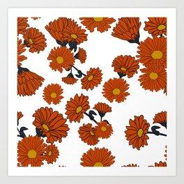 Orange calendula flowers Art Print