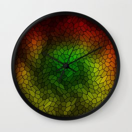 Volumetric texture of pieces of gold glass with a dark mysterious mosaic. Wall Clock