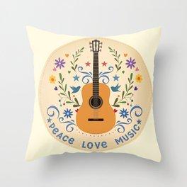 Peace Love And Music Folk Guitar Badge Throw Pillow