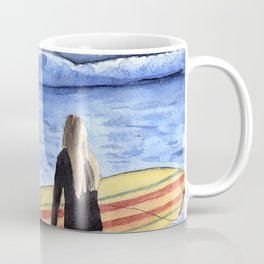 Girl with Surfboard Standing on the Beach Coffee Mug