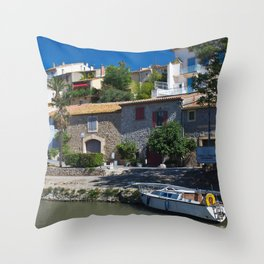 old houses on the canal du midi, france 2 Throw Pillow