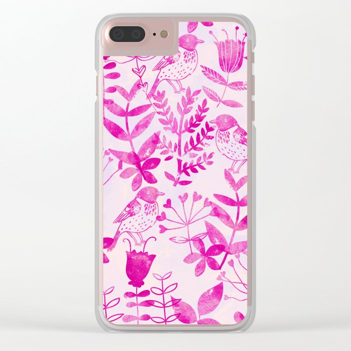 Watercolor Floral & Birds II Clear iPhone Case