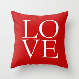 LOVE white on red Throw Pillow