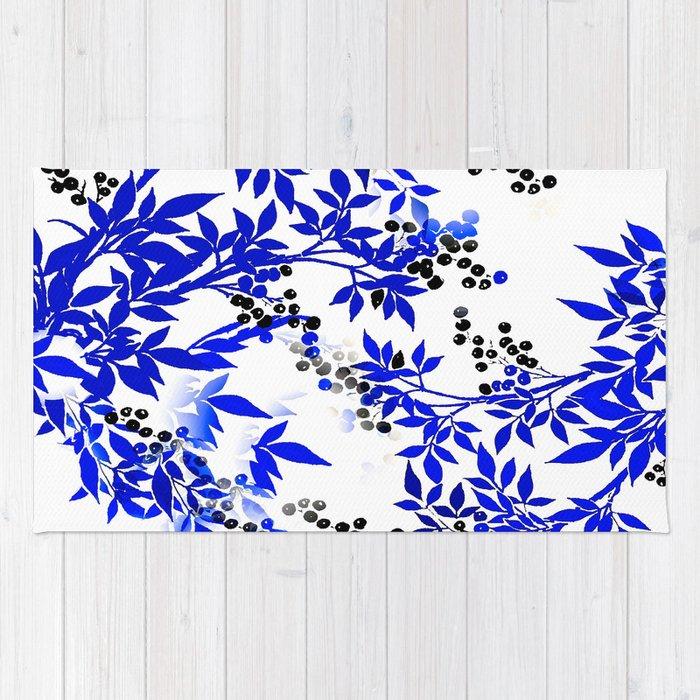Blue And White Leaf Toile Rug