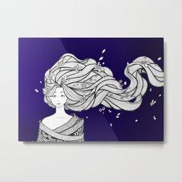 Hair Blowing Metal Print