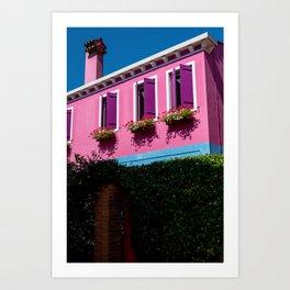 Pink, Burano Italy Art Print