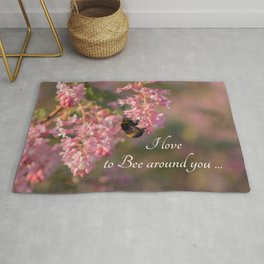 Nature bee on pink flowers with a beautiful quote Rug