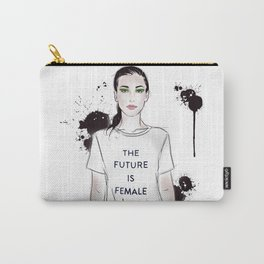 Beautiful woman with strong message t-shirt The Future is Female Carry-All Pouch