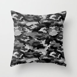 Camouflage (Gray) Throw Pillow