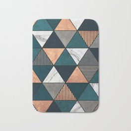 Copper, Marble and Concrete Triangles 2 with Blue Bath Mat