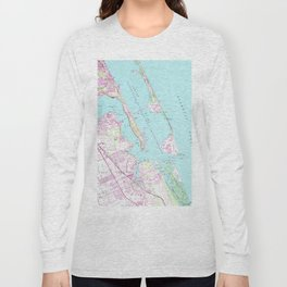 Vintage Map of Port St Lucie Inlet (1948) Long Sleeve T-shirt