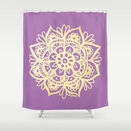 Purple and Gold Mandala Shower Curtain