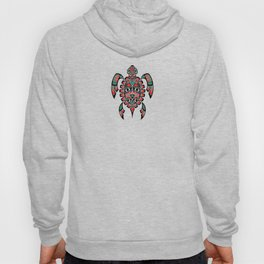 Vintage Red and Green Haida Spirit Sea Turtle Hoody