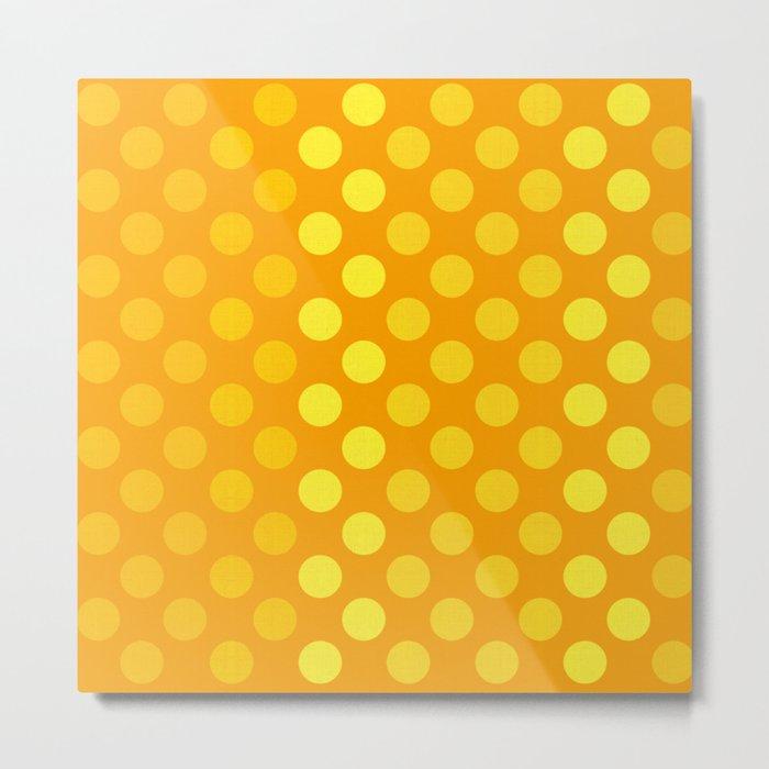 """Yellow & Ocher Burlap Texture & Polka Dots"" Metal Print"