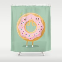 donut Shower Curtains featuring Donut by Maria Jose Da Luz