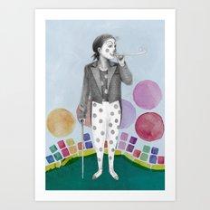 clown and lots of dots Art Print