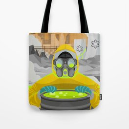 radioactive biohazard suit man on nuclear meltdown Tote Bag