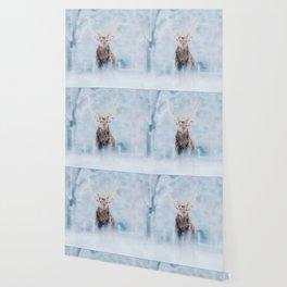 Deer in the snow watercolor painting  Wallpaper