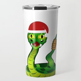Christmas Snake in Santa Hat Travel Mug