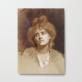 Portrait of a Young Woman by Marie Bashkirtseff - Vintage Victorian Retro Fine Art Oil Painting Metal Print