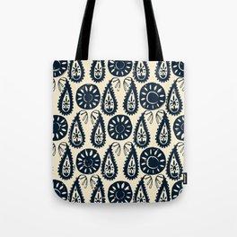 paisley block indigo ivory Tote Bag
