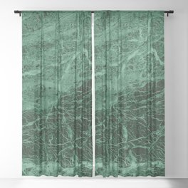 Dark emerald marble texture Sheer Curtain