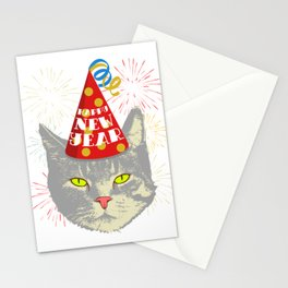 Meowy Christmas Cat Year Of The Rat Happy New Year 2020 January 1st Fireworks Resolution T-shirt Stationery Cards