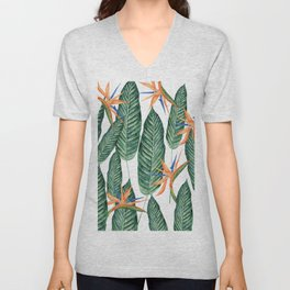 Banana And Flowers #society6 Unisex V-Neck