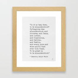 Emerson quote 9 Framed Art Print