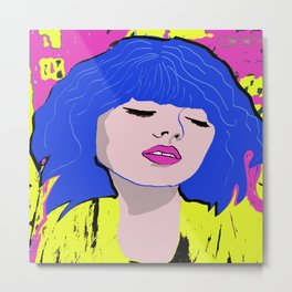 Blue Haired Dreaming Metal Print