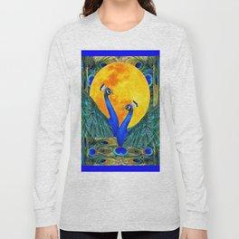 FULL GOLDEN MOON & 2  BLUE PEACOCKS PATTERN ART Long Sleeve T-shirt