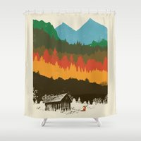poland Shower Curtains featuring Hunting Season by dan elijah g. fajardo