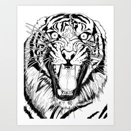 Tiger Black and white Art Print