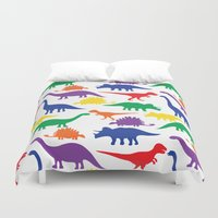 dinosaurs Duvet Covers featuring Dinosaurs - White by Dizana Designs