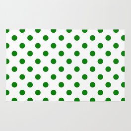 Small Polka Dots - Green on White Rug