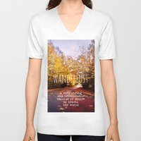 wanderlust V-neck T-shirts featuring wanderlust by Sylvia Cook Photography