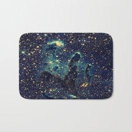 Pillars of Creation GalaxY  Teal Blue & Gold Bath Mat