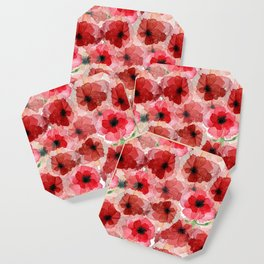 Pressed Poppy Blossom Pattern Coaster