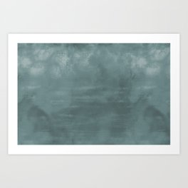 Cool Tropical Blue-Green Abstract Watercolor Blend 2021 Color of the Year Aegean Teal 2136-40 Art Print
