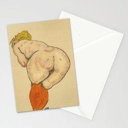 """Egon Schiele """"Ruckenakt mit orangefarbenen strumpfen"""" Stationery Cards"""