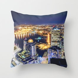 1719 Voyeuristic Vancouver Cityscape Space Craft - Waterfront Convention Center Gastown BC Canada Throw Pillow
