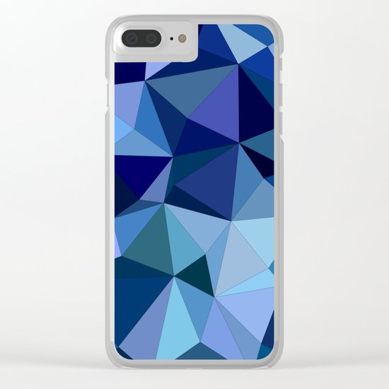 Blue triangles Clear iPhone Case